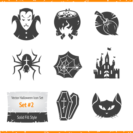 Halloween Vector Icons Set Filled Silhouette Illustration