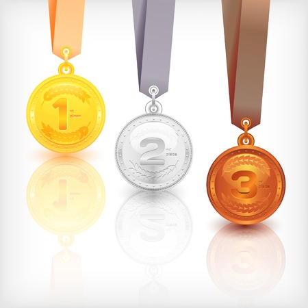 Sports Medal Awards. Places of winning. Vector