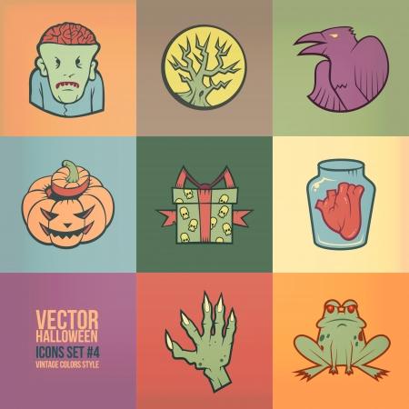 De Halloween iconos conjunto de vectores. Colores Vintage Style