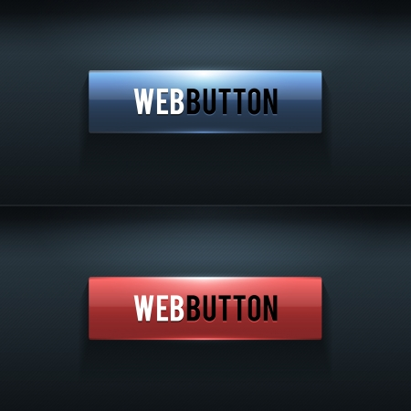 Set of two glossy buttons on dark background Vector