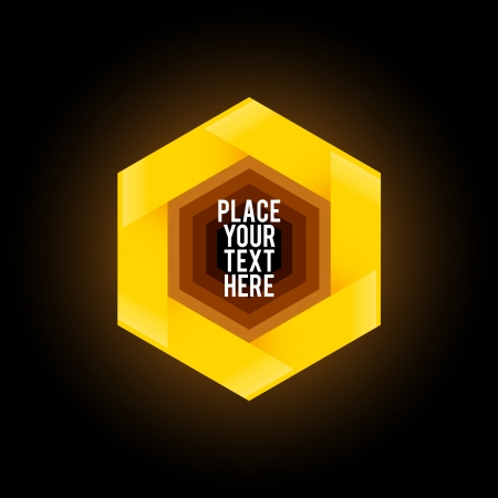 Yellow hexagon shape on black background Vector