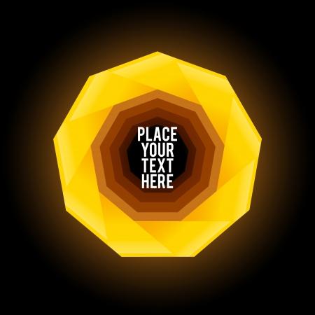 검은 색 바탕에 노란색 구 각형 모양 일러스트