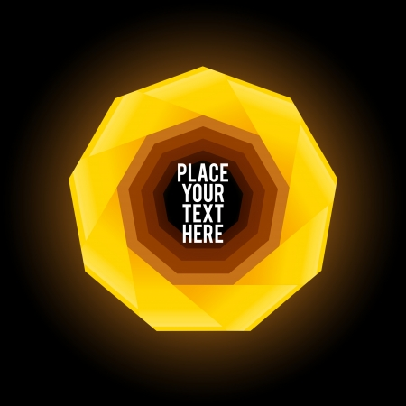 Yellow  nonagon shape on black background
