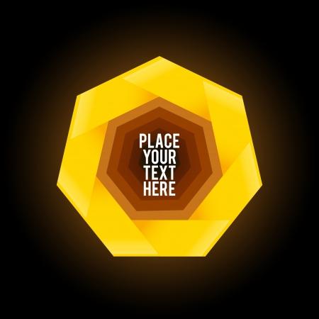 heptagon: Yellow heptagon shape on black background