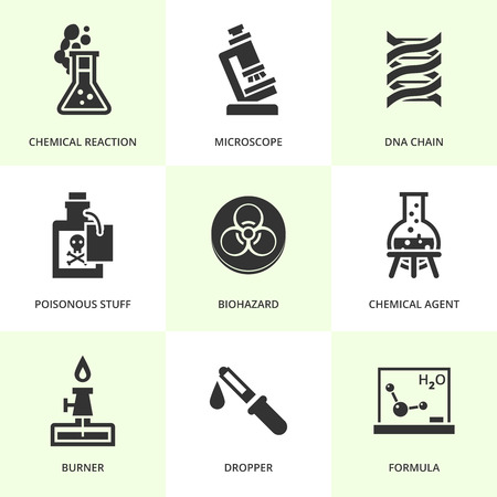 science class: Set of black chemistry icons