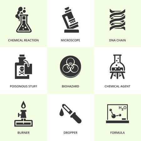 chemistry class: Set of black chemistry icons