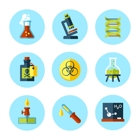 chemistry class: Vector chemistry icon set in modern flat style  Illustration