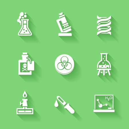 Catalyst: Set of white chemistry icons