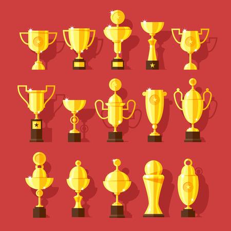 Vector icons set of golden sport award cups  Vector