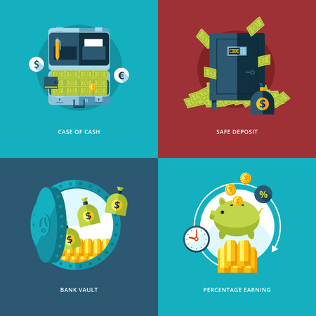 bank safe: Vector finance and money icons set
