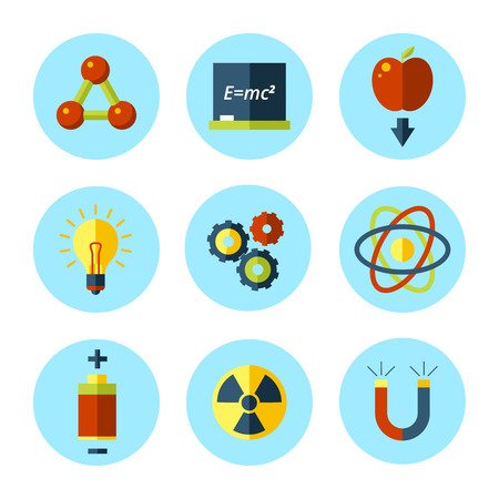 Vector physics icon set in modern flat style  Vector