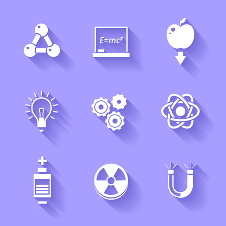 Set of white physics icons  Vector
