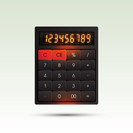 calculating: Vector calculator on bright background with orange glowing digits