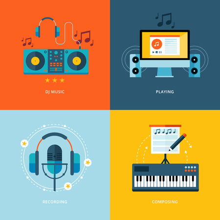 Set of flat design concept icons for music industry  Icons for dj music, playing, music recording, piano composing  Vector