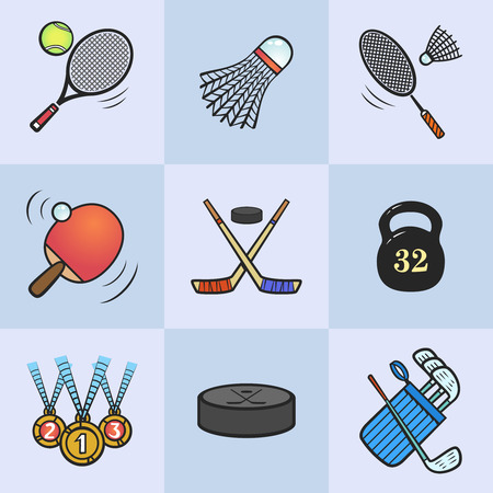 Collection of sport icons  Colored vector sport equipment  Vector icons set isolated on light blue background  Illustration