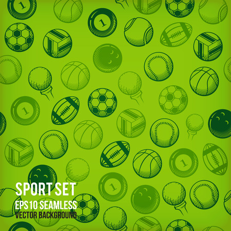 Vector sports icons on seamless colored background  Vector