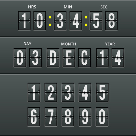 Airport characters and numbers in vector calendar clock  Vector