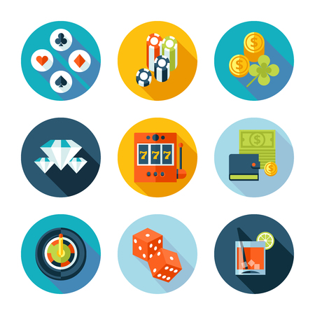 stake: Set of flat casino icons  Illustration