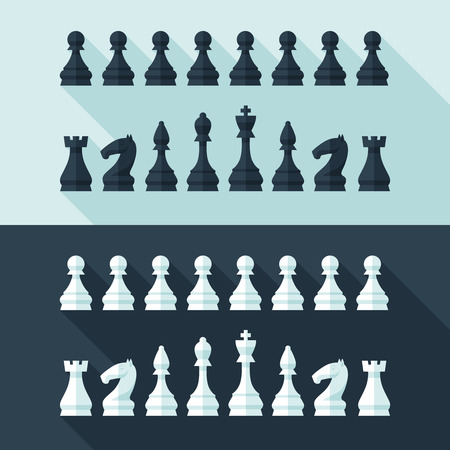 pawn king: Chess figures set in flat modern style for design concept  Illustration