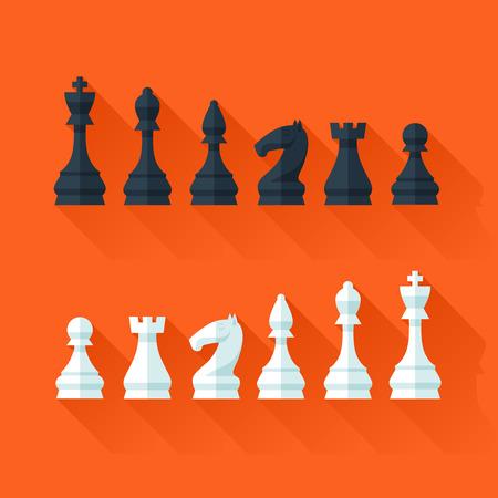チェスの数字をフラットな近代的なスタイルのデザイン コンセプトの設定します。