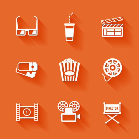 Set of white cinema movie icons  Vector