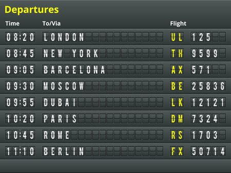 score board: Airport departures table  Illustration