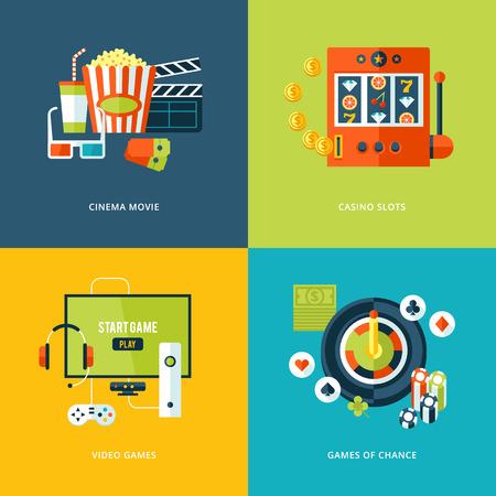 jugando videojuegos: Conjunto de iconos del concepto de dise�o de planos para los tipos de entretenimiento
