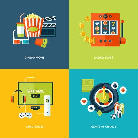 video games: Set of flat design concept icons for entertainment kinds
