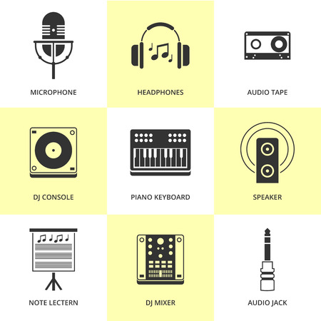 busyness: Set of black music and sound icons  Illustration