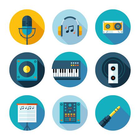 플랫 음악 및 사운드 아이콘의 집합 일러스트
