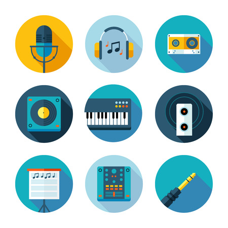 Set of flat music and sound icons  Vector