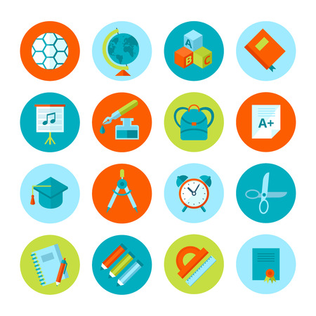 teacher student: Set of school and education icons
