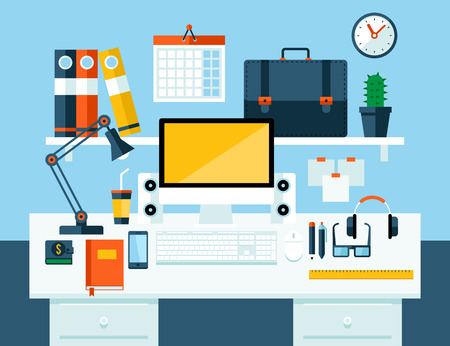 workspace: Flat illustration concept of office workspace  Illustration