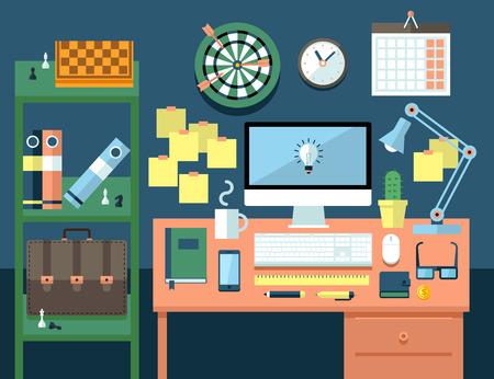 espacio de trabajo: Piso ilustraci�n del concepto de espacio de trabajo de oficina