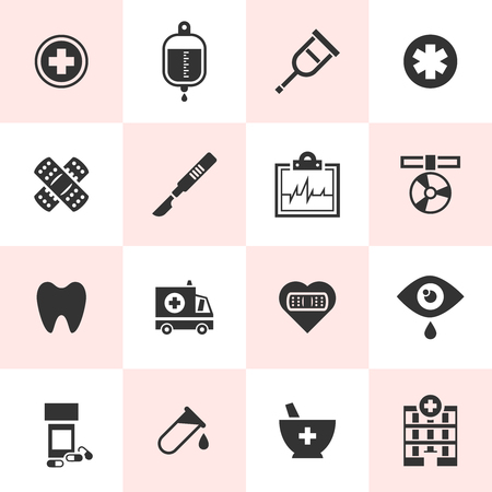 Set of black vector medical icons in simple style  Vector