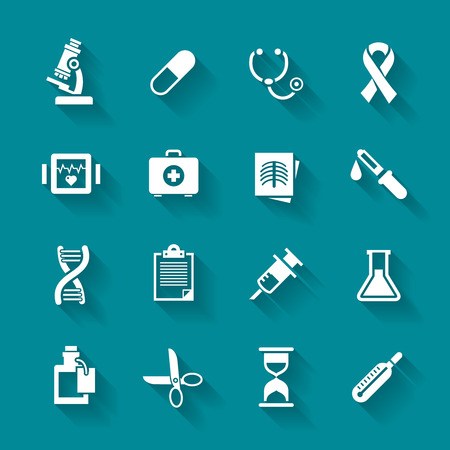 Set of white flat vector medical icons in simple style with shadows
