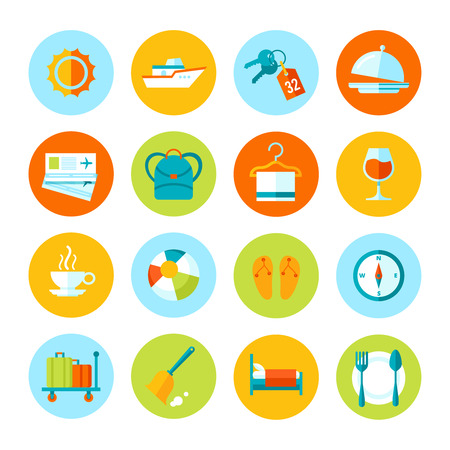 Set of flat vector travel and tourism icons  Colored circle icons collection  Vector