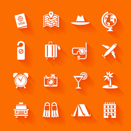 Set of white travel icons  Vector travel icons in flat simple style  Çizim