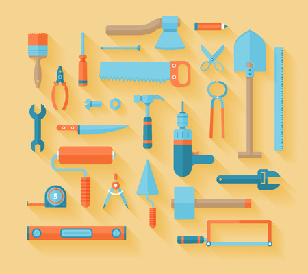 toolbox: Working tools icon set  Flat modern style