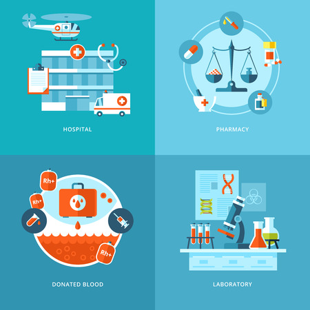 Vector medical and health icons set for web design, mobile apps  Vector