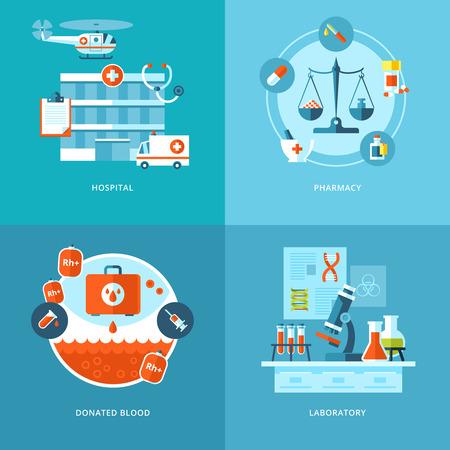 medical bills: Vector medical and health icons set for web design, mobile apps