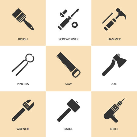 sihlouette: Trendy flat working tools icons  Vector illustration Illustration