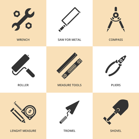 work tools: Trendy flat working tools icons  Vector illustration Illustration