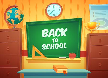 postcard back: Back to school background, vector illustration  Education postcard