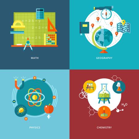 Conjunto de conceptos de diseño de planos de sujetos iconos de la escuela para aplicaciones móviles y los iconos de diseño web para las matemáticas, la geografía, la física y la química