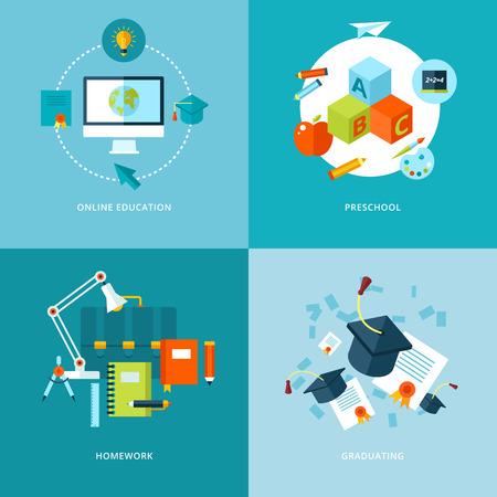 벡터 학교 및 교육 아이콘은 온라인 교육, 유치원, 숙제 및 졸업을위한 웹 디자인 및 모바일 애플 리케이션 그림에 대해 설정 일러스트
