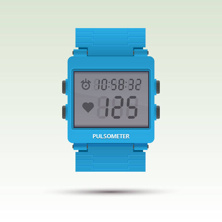 Vector pulsometer, illustration of heart beat rate monitor  Electronic stopwatch Vector