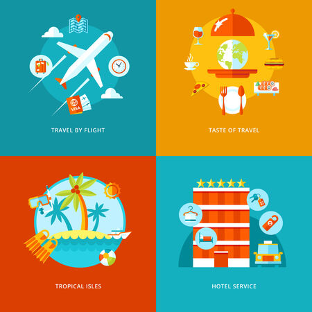Vector travel and tourism icons set for web design and mobile apps  Illustration for travel by flight, tropical isles, hotel services and taste of traveling