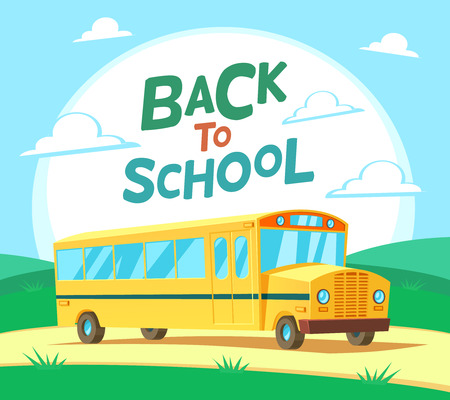 kid school: Vector school bus illustration