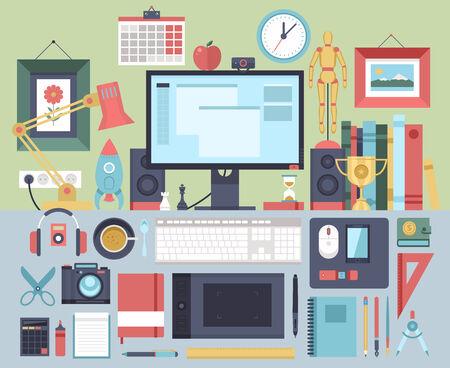 speakers desk: Flat modern design illustration concept of creative office workspace, workplace.
